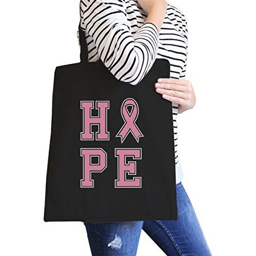 365 Printing Hope Pink Ribbon Black Canvas Bag Gift For Breast Cancer Survivor