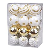 """KI Store Christmas Tree Decorations decorative ball ornaments Hanging Decor (Gold and White, 2.36"""")"""