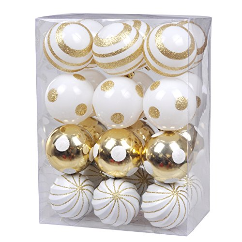 KI Store Christmas Tree Decorations decorative ball ornaments Hanging Decor (Gold and White, 2.36