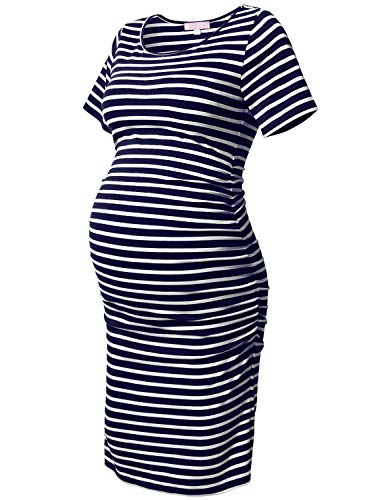 Maternity Bodycon Dress White Striped Short Sleeve Ruched Sides Knee Length Pregnant Dresse Navy and White L
