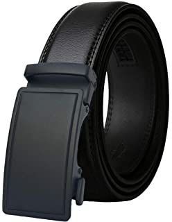 "Holeless Leather Ratchet Belts for Men 53/"" Length Cutting to fit Slide Buckle"