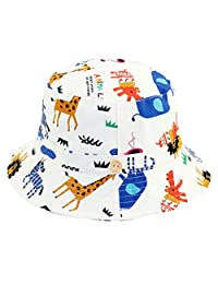 RUHI Toddler Sun Protection Hat Soft Cotton Bucket with Chin Strap Packable Cap