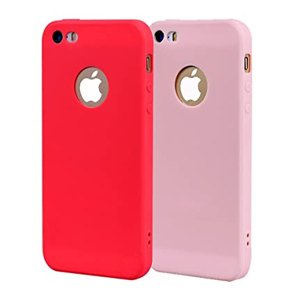 Funda iPhone 5, Carcasa iPhone 5S Silicona Gel, OUJD Mate Case Ultra Delgado TPU Goma Flexible Cover para iPhone 5/SE - Rojo + rosa