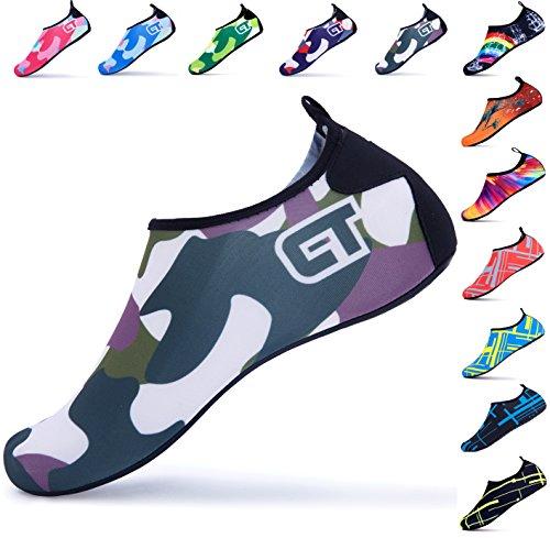 Giotto SportsWaterShoesSwimYogaBeachAquaSocksForWomenMen Camo/Dark Green