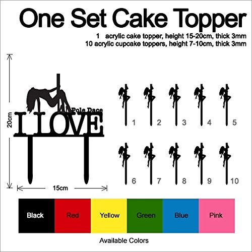 TC0194 I Love Pole Dance Girl Party Wedding Birthday Acrylic Cake Topper Cupcake Toppers Decor Set 11 pcs by jjphonecase (Image #3)