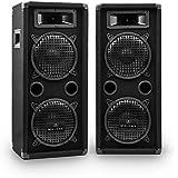Auna PW-08X22W Paar PA-Lautsprecher 2 x 20 cm,  1600W PA-Box 2 Etagen