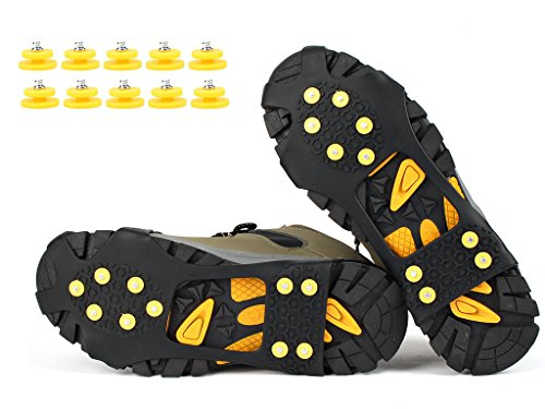 VICWARM Ice Cleats Traction Anti Slip Over shoes/Boot 10 Studs Snow Ice Grips Crampons Cleats Spikes (L(Women(8-11)/Men(7-10))