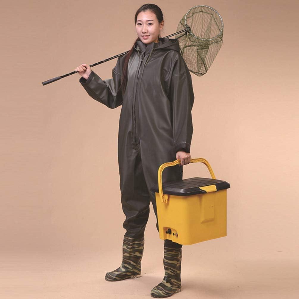 Kaiyei Herren Damen Outdoor Waten Brust mit Kapuze Wathose Onesie Overalls 100/% Wasserdicht rutschfeste Sohle Atmungsaktiv Jagd Anglerhosen Anbau Watstiefel