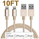 Lightning Cable, GOOLEEN 2Pack 10FT Nylon Braided Extra Long 8 pin USB Charger Cables and Sync Charging Cord For Apple iPhone SE/6/6s/6 plus/6s plus,5c/5s/5,iPad Pro/Air/Mini,iPod Nano/Touch- Gold