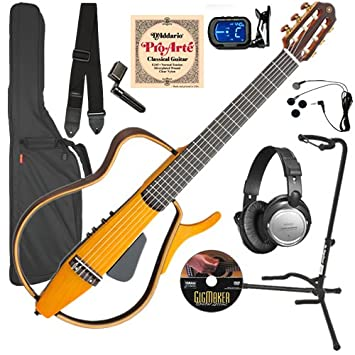 Amazon.com: Yamaha SLG130NW Silent Guitar COMPLETE BUNDLE w/ Gig Bag & Headphones: Musical Instruments