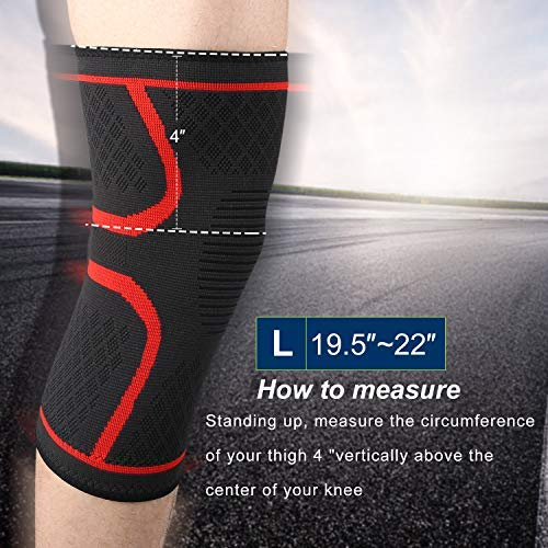 Knee Brace, Hausbell Knee Compression Sleeve Support for Arthritis, ACL, Running, Pain Relief, Injury Recovery, Basketball, Sports, Men and Women