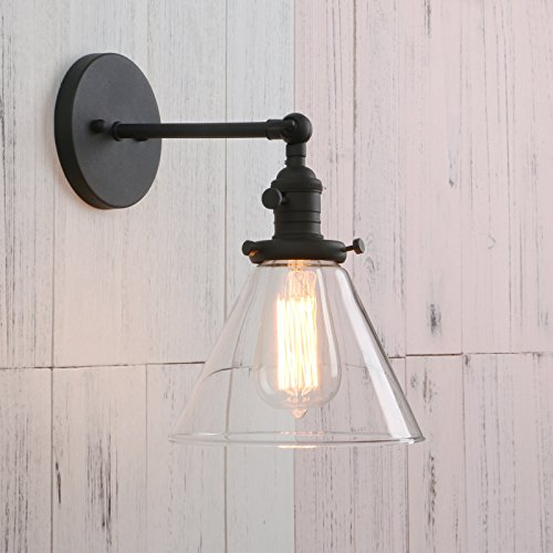 Permo Single Sconce with Funnel Flared Glass Clear Glass Shade 1-light Wall Sconce Wall Lamp (Black) - Indoor Single