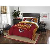 3 Piece NFL Kansas City Chiefs Comforter Full Queen Set, Sports Patterned Bedding, Featuring Team Logo, Fan Merchandise, Team Spirit, Football Themed, National Football League, Red, Yellow, Unisex