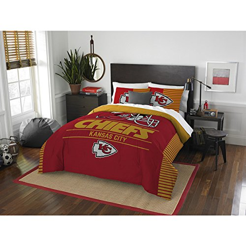 3 Piece NFL Kansas City Chiefs Comforter Full Queen Set, Sports Patterned Bedding, Featuring Team Logo, Fan Merchandise, Team Spirit, Football Themed, National Football League, Red, Yellow, Unisex by OS
