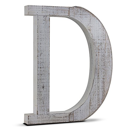 Wood Letter D American Art Decor Whitewashed Rustic Distressed Wooden Wall Hanging or Free Standing Cutout Initial Block Letter for Nursery Living Room Baby and Bedroom Vintage Decor LARGE 20