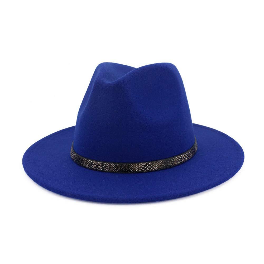 Vim Tree Men & Women's Wide Brim Fedora Hat with Band Unisex Felt Panama Cap Blue M (Head Circumference 22''-22.8'')