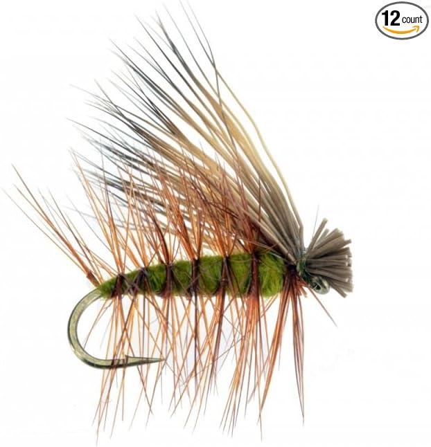 6 each Custom Elk Hair Caddis Olive # 10 Dry Fly Fishing Trout Lures Baits