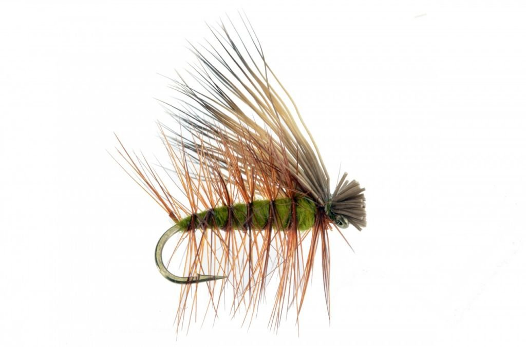 Feeder Creek Fly Fishing Trout Flies - Elk Hair Caddis Olive - Hand Tied Dry Trout Fly Pattern - 4 Size Assortment 12,14,16,18 - One Dozen (3 Each Size) Hand Tied