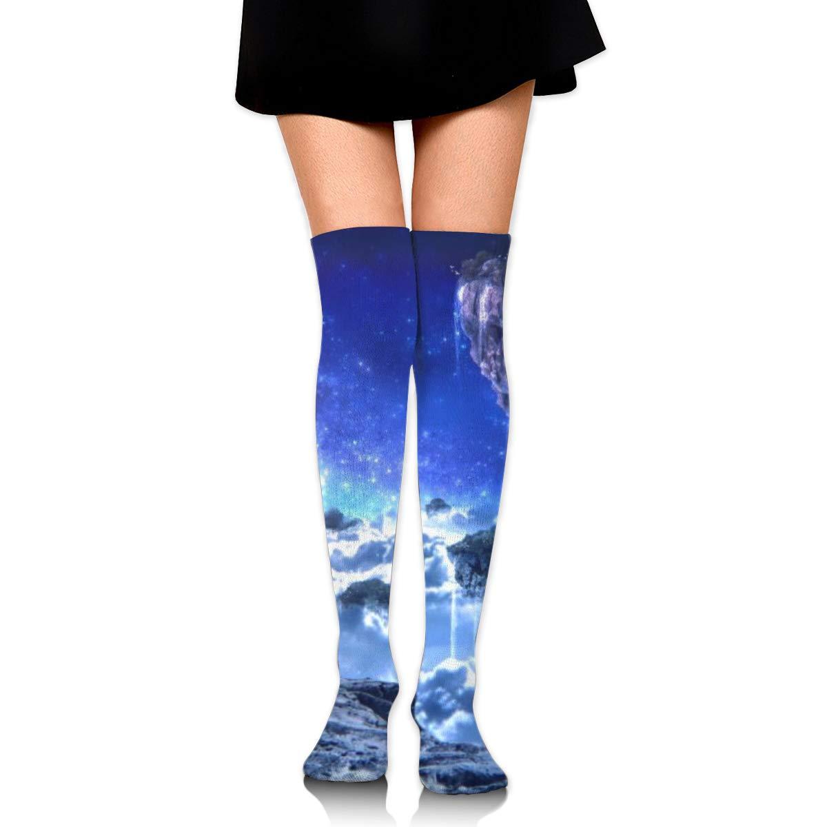 Kjaoi Girl Skirt Socks Uniform Landscape Floating Islands Women Tube Socks Compression Socks