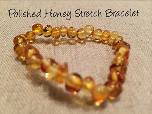 Resin Stretch Bracelet (Baltic Amber Teething Bracelet 6 inches stretch for Babies (Unisex) - Unpolished Raw Honey Stretch Baby, Infant, and Toddlers will all benefit. Milk Butter Honey Yellow Brown - Targets teething symptoms: drooling, fever, fussiness. Works as anti-inlammatory, Teething Pain Reduce Properties - Natural Certificated Oval Baltic Jewelry with the Highest Quality Guaranteed. Easy to Stretchy and not knotted - just slip over the wrist, ankle, anklet, under socks or not. Mothers Approved Remedies! Maximum strength. Light and raw colors help some with colic, reflux, and eczema (Polished Honey Stretch))