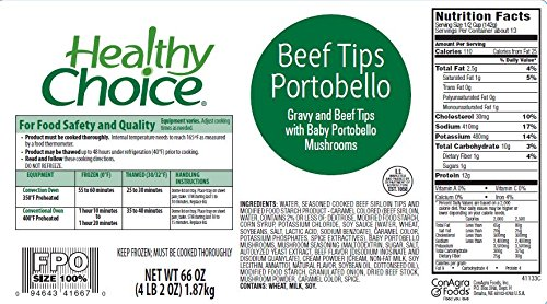 Healthy Choice Beef Sirloin Tips with Portobello Mushrooms, 66 oz. (Pack of 4) by Healthy Choice