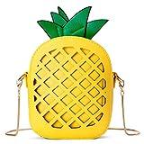 Small Crossbody Bag Cute Cartoon Purse Pineapple/Watermelon/Lemon/Pear Fruit Shape Shoulder Bag PU leather Handbag Clutch for Womens Girls (Pineapple)