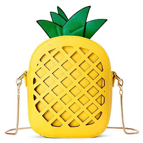 Small Crossbody Bag Cute Cartoon Purse Pineapple/Watermelon/Lemon/Pear Fruit Shape Shoulder Bag PU leather Handbag Clutch for Womens Girls (Pineapple) by Gupiar