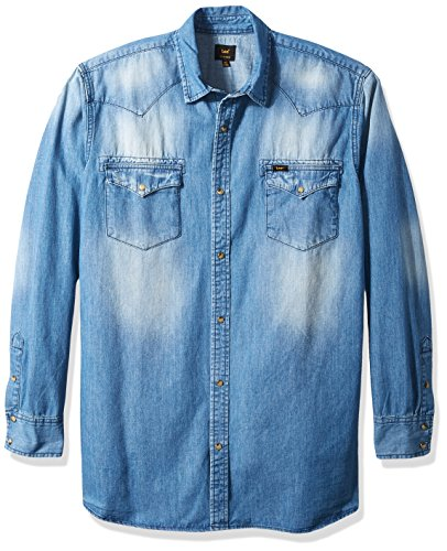 LEE Men's Big and Tall Heritage Western Long Sleeve Denim Shirt, Dark Wash, (Big Tall Denim Shirts)