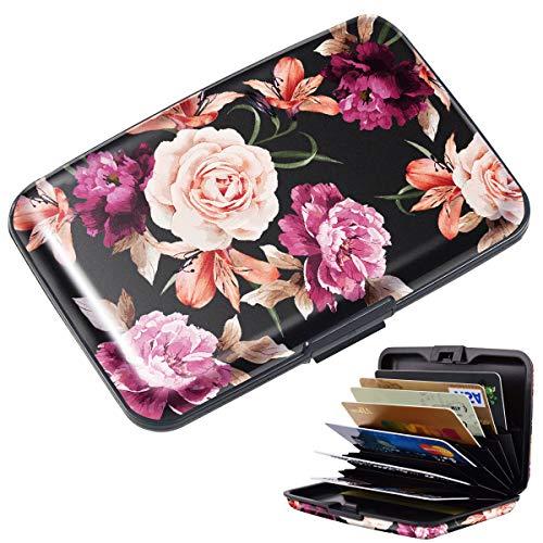 Mini Credit Card Holder for Women,RFID Blocking Slim Hard Card Case ID Case Travel Wallet Black Rose Flowers