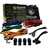 Kyпить RHINO USA 28pc Bungee Cord Set - Heavy Duty Shock Cord With ABS Coated Steel Hooks, 185lb Max Break Strength Bungie Assortment - Includes Easy Organizer Case and 4 FREE Tarp Clips на Amazon.com