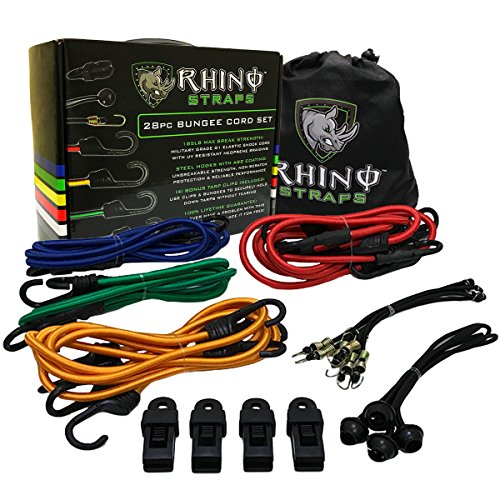 RHINO USA 28pc Bungee Cord Set - Heavy Duty Shock Cord With ABS Coated Steel Hooks, 185lb Max Break Strength Bungie Assortment - Includes Easy Organizer Case and 4 FREE Tarp Clips - Cord Hook Part