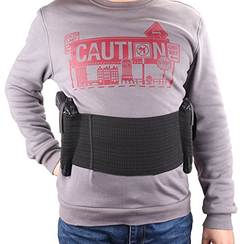TacticalGear Belly Band Holster for Concealed Carry - Elastic Waist Pistol Gun Holster with Two Gun Pockets for Men and Women 37.4'' Waist (Short Black Glock)