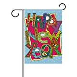 Cheap My Daily Happy New Year Colorful Decorative Double Sided House Flag 28 x 40 inch