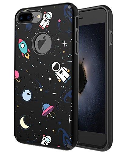 PBRO iPhone 7 Plus Case,iPhone 8 Plus Case Dual Layer Slim Cute Print Design Heavy Duty Protective Anti-Scratch Shockproof Fit For Apple iPhone 7 Plus, iphone 8 Plus Space/Black