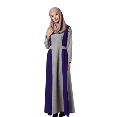 Zhuhaixmy Muslim Damen Lange Ärmel Maxikleid Kaftan Abaya Islam Arab Robe  Gown