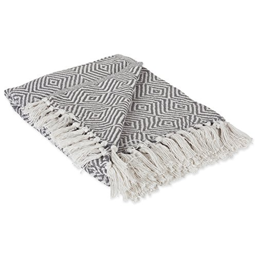 DII 100% Cotton Geometric Daimond Throw for Indoor/Outdoor Use Camping Bbq's Beaches Everyday Blanket, 50 x 60, Mineral - Cotton Bench Outdoor
