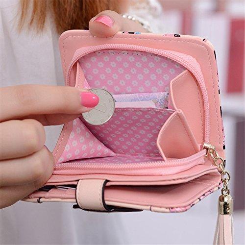 Geldbörse Fashion Süß Elegant Damen Portemonnaie Klein Brieftasche Kurze Portemonnaie mit Münze Tasche Karte Halter (Rosa) Schwarz i4InMgmm