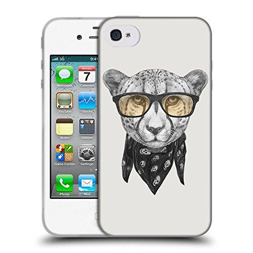 GoGoMobile Coque de Protection TPU Silicone Case pour // Q05030631 Foulard cheetah Platine // Apple iPhone 4 4S 4G