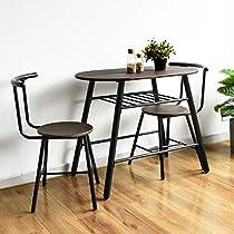 HOMEMAKE 3Pcs Ding Table Chair Set, Industrial Metal Space Saving Dining Set 90C*50CM