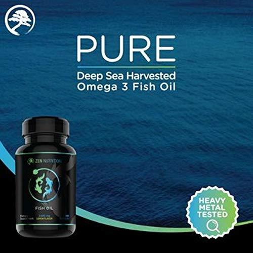 Omega 3 Fish Oil | Deep Ocean Sourced Wild Fish Oil Ultra Pure EPA DHA | 90 Capsules Burpless Lemon Flavor - ZEN NUTRITION