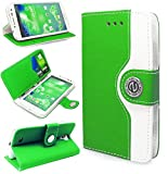 Magic Global Gadgets - Green Retro Leather Flip Book Wallet Case Cover Pouch With Media Stand For Samsung Galaxy S4 IV (i9500/i9505/i9506/i9502) LTE With Screen Guard / Cleaning Cloth / Mini Stylus