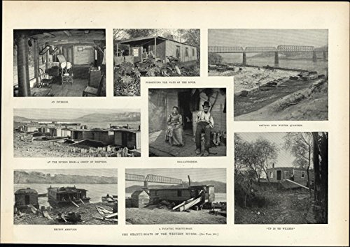 River Rag (Shanty Boats Western U.S. Rivers rag-pickers drifters 1895 old sheet paper)