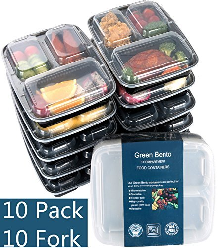 [10 Pack]Meal Prep Containers 3 Compartment-Food Prep Containe with