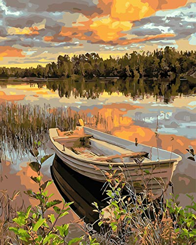 COLORWORK DIY Paint by Numbers, Canvas Oil Painting Kit for Adults, 16″ W x 20″ L Drawing Paintwork with Paintbrushes, Acrylic Pigment-Lakeside Boat