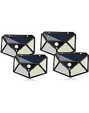مصباح شمسي خارجي 100 LED مقاوم للماء جدار آمن ضوء ليلي مع مستشعر حركة 270 درجة زاوية واسعة لممر الشرفة ساحة المرآب سياج الممر الممر, 4 Pack