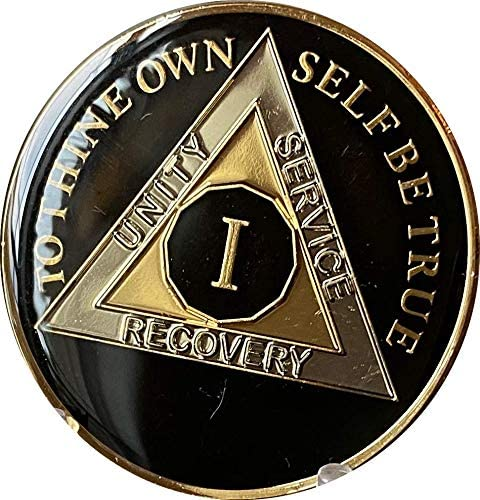Ranger Industries 1 Year AA Medallion Glossy Classic Black Sobriety Chip