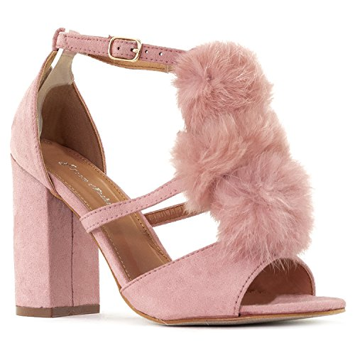 RF ROOM OF FASHION Pom Pom Fur Decor Ankle Strap Block Heel Dress Sandal - Strappy Open Toe Stacked High Heel Shoes Mauve Size.6.5