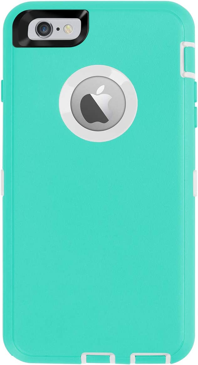 AICase iPhone 6 Plus Case,iPhone 6S Plus Case [Heavy Duty] Built-in Screen Protector Tough 4 in 1 Rugged Shockproof Cover for Apple iPhone 6 Plus / 6S Plus (White/Light Blue)