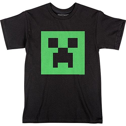 - JINX Minecraft Big Boys' Glow-in-The-Dark Creeper Face T-Shirt (Black, Large)