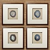 Tozai Set of 4 Genuine Geode/Agate Wall Art in Brown Wooden Frame